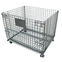 Wholesale Folding Rolling Wire Mesh Storage Cages Corrosion Protection With Wheels from china suppliers