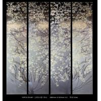 Gold Foil Decorative Glass Panels For Doors , Leaf Pattern
