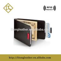 Buy cheap China supplier custom Leather RFID Blocking pull tap card holder in good quality from Wholesalers