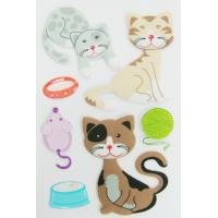 Wholesale cartoon blue Puffy Stickers For Kids Lovely cats Fuzzy PVC + Foam + PET from china suppliers