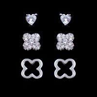Wholesale Novelty Flower Four Leaf Clover Earrings Studs 3 In 1 Set 925 Silver Jewelry from china suppliers