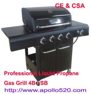 4 Burner BBQ on Cart plus side burner