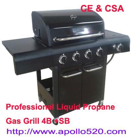 Quality 4 Burner BBQ on Cart plus side burner for sale