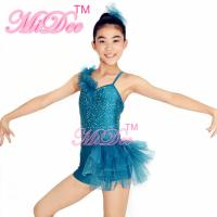 Turqoise Sequin Jazz Tap Dance Costumes Ruffle Shoulder Back Cross Straps