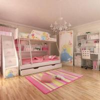 Wholesale E0 Grade Bunk Bed, Kids' Bedroom Set Children Furniture, Wooden Bedroom, Princess, Disney, Chair from china suppliers
