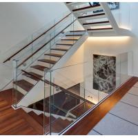Wholesale Modern aluminum U channel 12mm tempered glass railing wood handrail interior from china suppliers