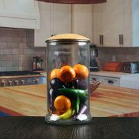 Buy cheap 1200 ml cheap sealed straight kitchen glass jars with wood lid wholesale from wholesalers