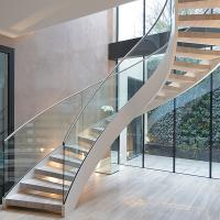 Wholesale Interior solid wooden curved staircase with customized size design from china suppliers