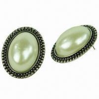 Wholesale Imitation Pearl Stud Earrings, Made of Imitation Pearl and Alloy, OEM/ODM Orders Welcomed from china suppliers