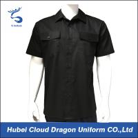 Quality Black 100% Polyester Silky Security Guard Shirts , Short Sleeve Work Shirts For Men for sale