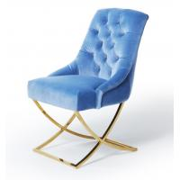 Wholesale Golden X Cross Metal Legs Furniture Dining Room Chairs Blue Velvet Fabric Button Tufted from china suppliers