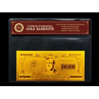 Wholesale US $100000 gold dollar bill gold with PVC frame COA , Gold plated banknote gift from china suppliers