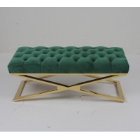 Wholesale Modern and luxury design living room button tufted velvet ottoman bench with crossed design stainless ste from china suppliers