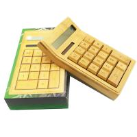China China manufacturer natural bamboo wood calculator, 12 digits sloar powered bamboo calculator for promotion gift on sale