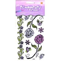 Wholesale Flower Design washable Glitter Temporary Tattoo with Non - toxic ink printing body art from china suppliers