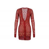 Red Women's Knit Cardigan Sweaters With Lace Knitting , Long Ladies Button Up Cardigans