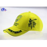 Buy cheap Yellow Brushed Cotton Breathable Custom Baseball Caps with 3D Embroidery Logo from Wholesalers