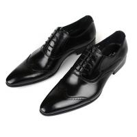 Wholesale Office Black Leather Dress Shoes Waterproof , Pointed Toe Mens Handmade Leather Shoes from china suppliers