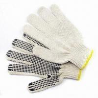 China Safety Gloves with Anti-slip Function, Made of Cotton Yarn and Plastic Pellets on sale