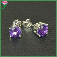 China wholesale charming 925 sterling silver purple blue cubic zirconia stone earrings on sale
