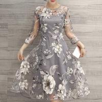 Wholesale fashion & charming round neck 3/4 sleeve floral print see-trough women's dress from china suppliers