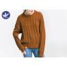 Anti - Pilling Brown Womens Knit Pullover Sweater Soft Rib Knitting Apparel