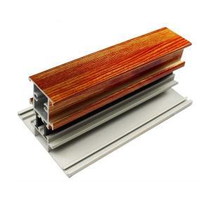 T Shape Wood Finish Aluminium Profiles Length Customized For Glass Doors