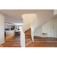 Wholesale Modern Style Solid Wood Tread Curved Stair with Frameless Glass Railing from china suppliers
