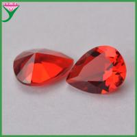 China synthetic ruby red color pear cut glass loose diamond for sale on sale