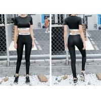 Wholesale Short Sleeve Sports Tracksuit , Breathable Ladies Sport Suit Black Color from china suppliers