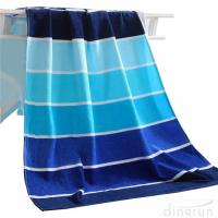 Wholesale 100% Cotton Soft Beach Towel Pool Towel Gradient Blue Striped Towel Bath Towel from china suppliers