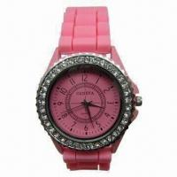 China Pink Geneva Bezel Watch for Gift, with Silicone Band, Crystal Stone and Japan Quartz Movement on sale
