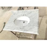 Big Vein White Carrera Marble Countertops Eased Edges With Double Sinks