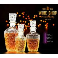 Wholesale 250ml 500ml Whiskey Glass Bottle Wine Container With Glass Lid Square Shape from china suppliers