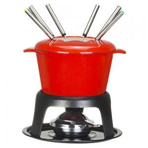Enamel coated cast iron fondue set