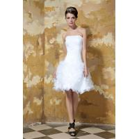 Simple Strapless White Short Mini Tulle Wedding Gown Bridal Dress Under 100 Dollars