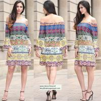 Wholesale strapless short printed women dress with pattern design in puff sleeve from china suppliers