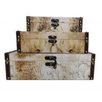 Wholesale Eco-Friendly Canvas / Wooden Storage Boxes For Sundries / Cosmetics With Flower Design from china suppliers