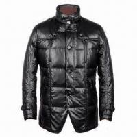 Quality Jacket for men, made of soft PU fake leather, 90% down inside, fancy design, for sale