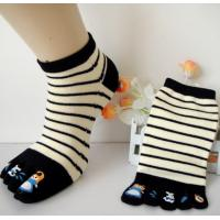 Wholesale Spring Purple Five Toe Socks , Anti - Pilling Striped Toe Socks from china suppliers