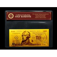 Wholesale gold plated notes $10 gold dollar bill plastic holder for present Gift from china suppliers