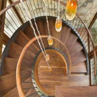 Wholesale Top Grade Residential /Commercial Prefabricated Beautiful Stainless Steel wooden Curved Stairs from china suppliers