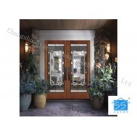 China Bevel Custom Glass Window Panels , Theft Proof Brass Decorative Art Glass on sale