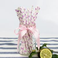 Wholesale Flamingo Pattern Gold Biodegradable Paper Straws , Disposable Paper Spoon Straws from china suppliers