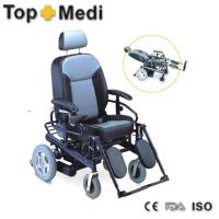 China Aluminum Frame Recliner High Bach Electric Wheelchair Elevating Footrest for Disabled on sale