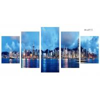 Wholesale Modern 5 Panel Canvas Wall Art City Sunset Seascape Painting Picture Artwork from china suppliers