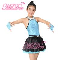 Buy cheap Fancy Polyester Lycra Girl Jazz Dance Dress With Rhinestones Choker Collar from Wholesalers