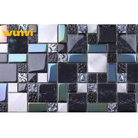 Quality Washable Glass And Stainless Steel Black Kitchen Tiles With 100×100mm Chip for sale