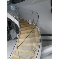 Wholesale Side-mounted solid wood handrail glass railing prefabricated curved stairs from china suppliers