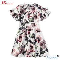 Wholesale 89D17384 Fashion Round Neck Lotus Leaf Sleeve High Waist Floral Print Linen Dress Women from china suppliers